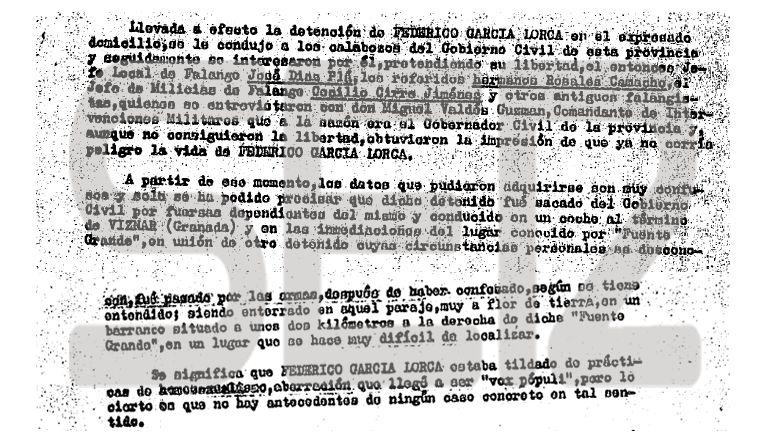 Documento muerte Lorca cadena Ser